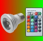 3 Watt RGB spot met afstandsbediening fitting E27