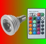 3 Watt RGB spot met afstandsbediening fitting E14
