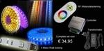 RGB ledstrip set 5 meter met trafo en RFcontroller complete set